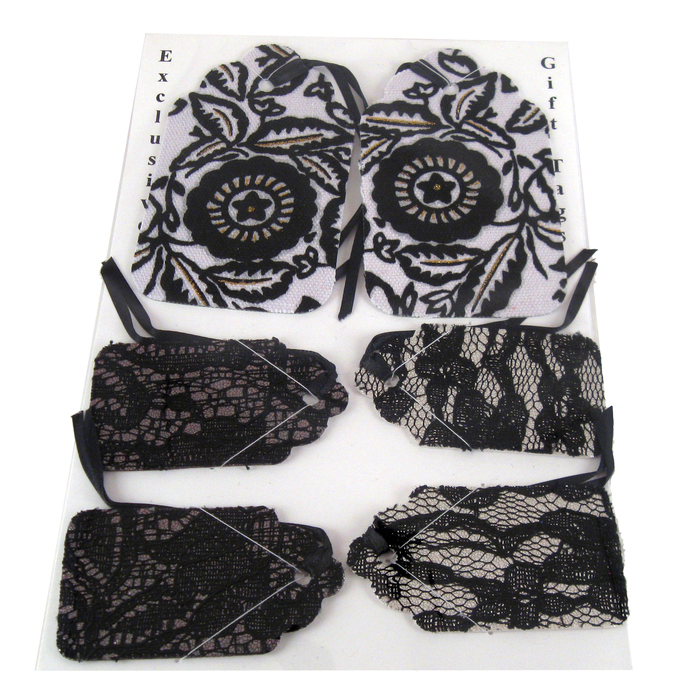 Black and White Lacy Handmade Gift Tag Set