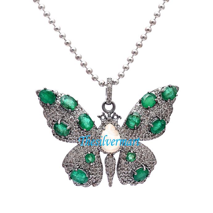 Opal Butterfly Pendant Ethiopian Opal Pendant Sterling Silver Butterfly Pendant
