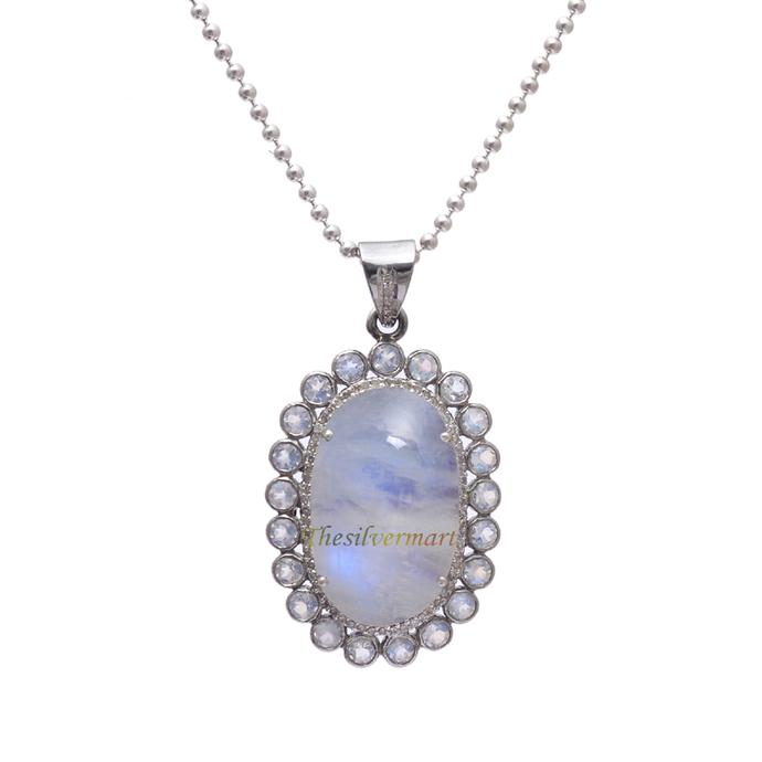 925 Sterling Silver Rainbow Moonstone Diamond Pendant Jewelry,Rainbow Moonstone
