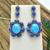 14K Gold Tanzanite Turquoise Diamond Sterling Silver dangler Earring Jewelry,