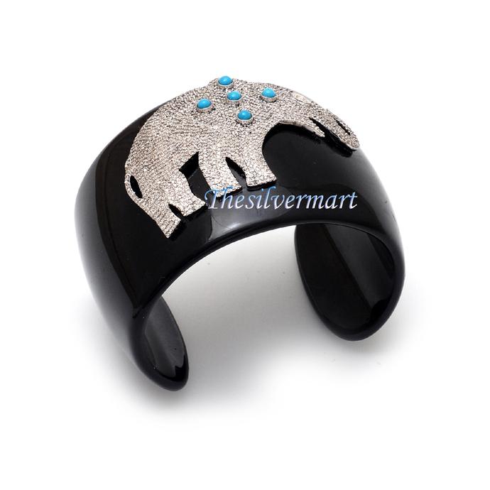 925 sterling silver Diamond Elephant Turquoise Black Bakelite Modern bracelet
