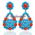 14K Gold &925  Sterling Silver Turquoise Coral  Diamond Danglers Earring Jewelry