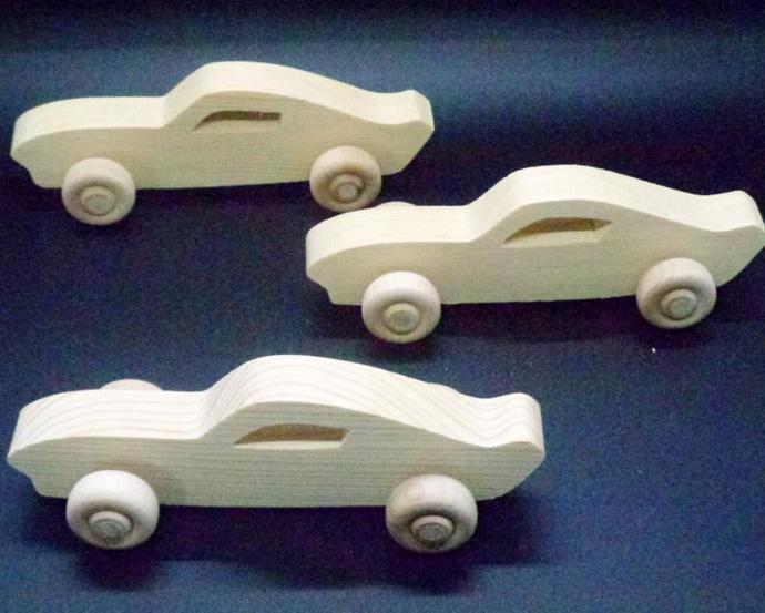 Pkg of 3 Handcrafted Wood Toy Cars 355BH-U-3  unfinished or finished