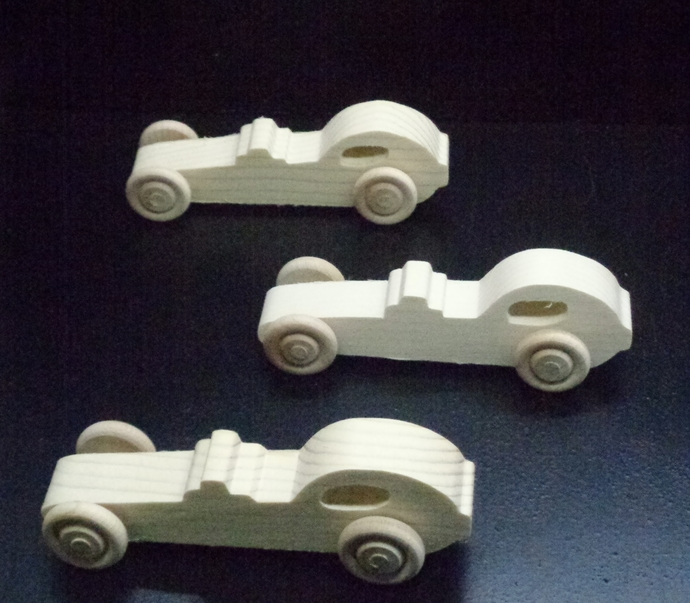 Pkg of 3 Handcrafted Wood Toy Dragsters 367AH-U-3  unfinished or finished