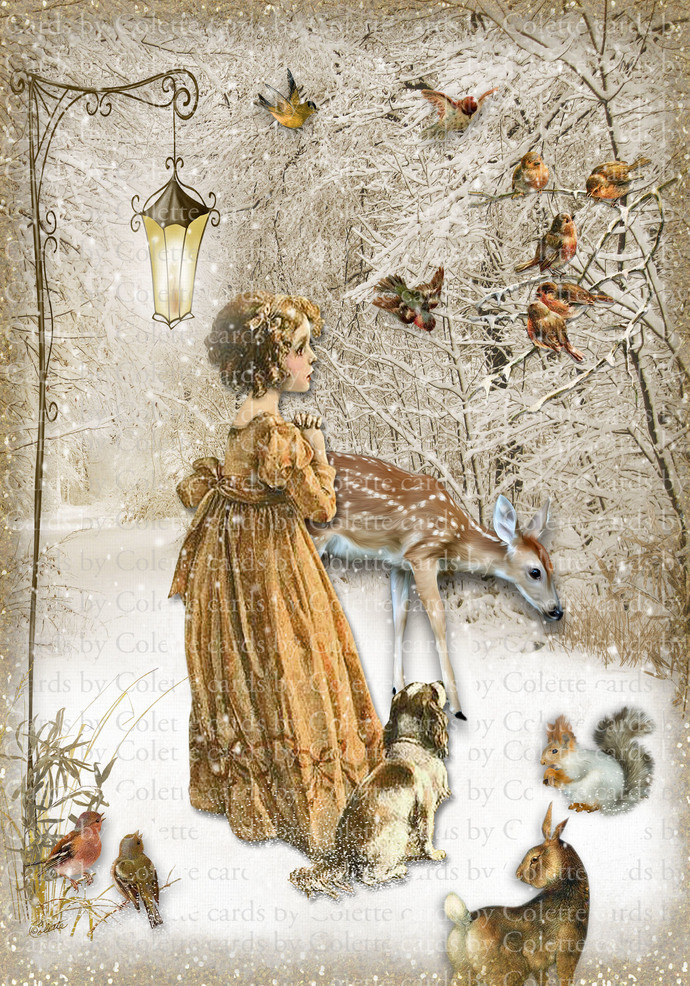 Winter Girl and Birds Digital Collage Greeting Card3004