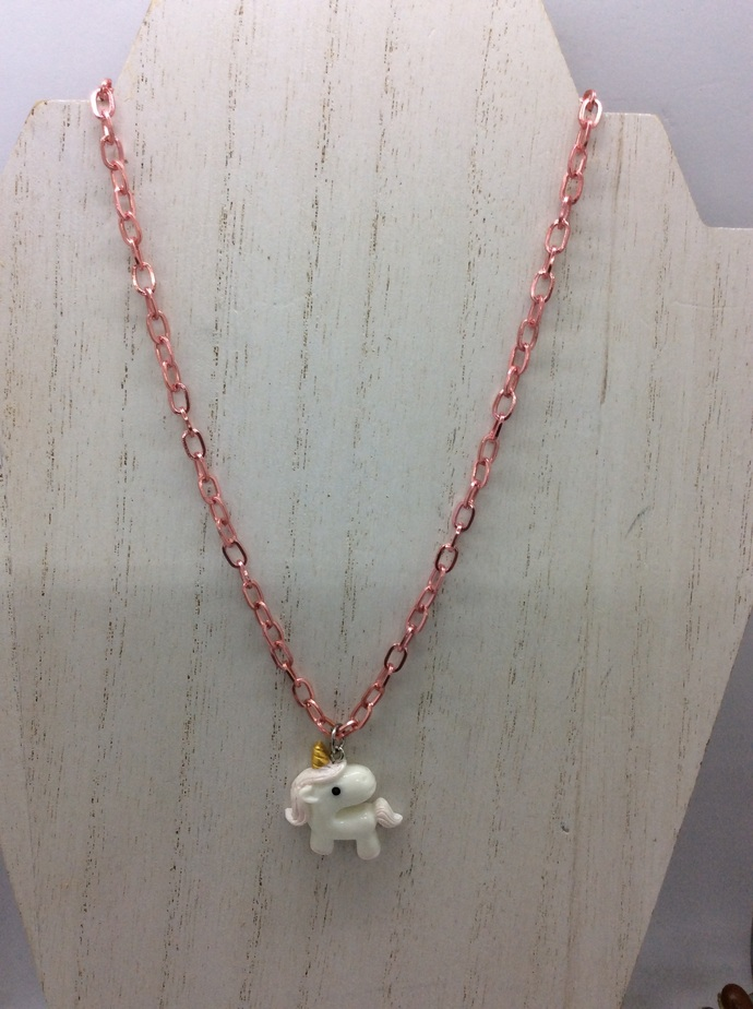Your choice of  cute  unicorn pendant  colored chain necklace
