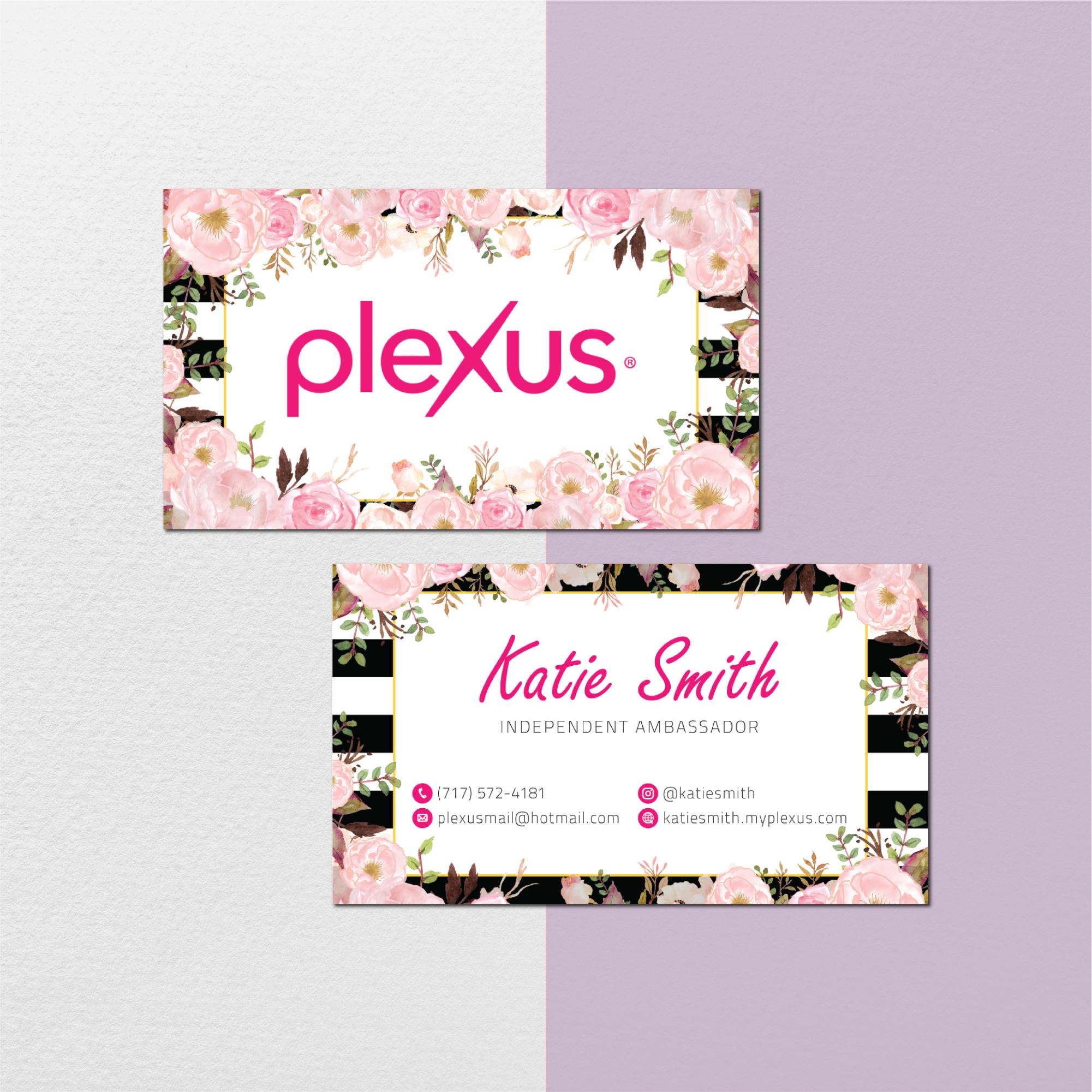 Floral Personalized Plexus Business Cards, Custom Plexus Business Cards, Plexus