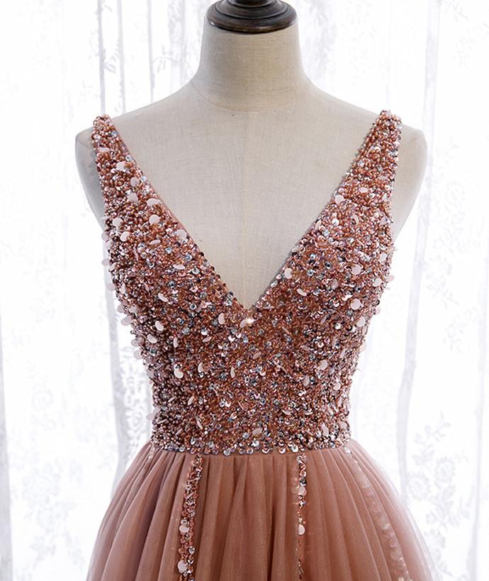 Pink Tulle V-neckline Floor Length Beaded Prom Dress, Pink Wedding Party Dress