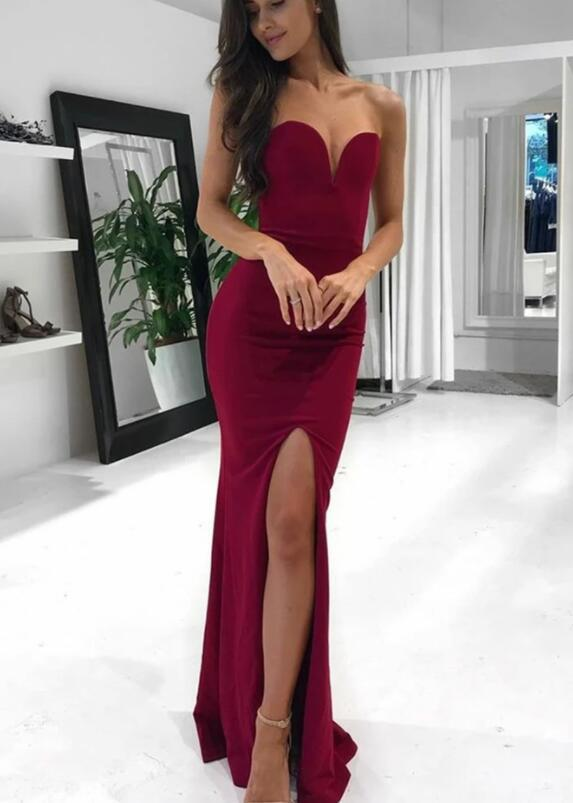 Beautiful Strapless Burgundy Long Prom Dress with Slit, Mermaid Burgundy Formal