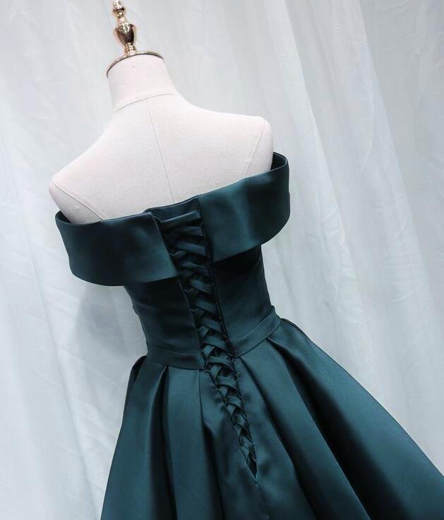 Off Shoulder Satin Short Prom Dresses,Dark Hunter Green Satin Formal Graduation