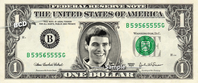 Lloyd Christmas on a REAL Dollar Bill Jim Carrey  Cash Money Collectible