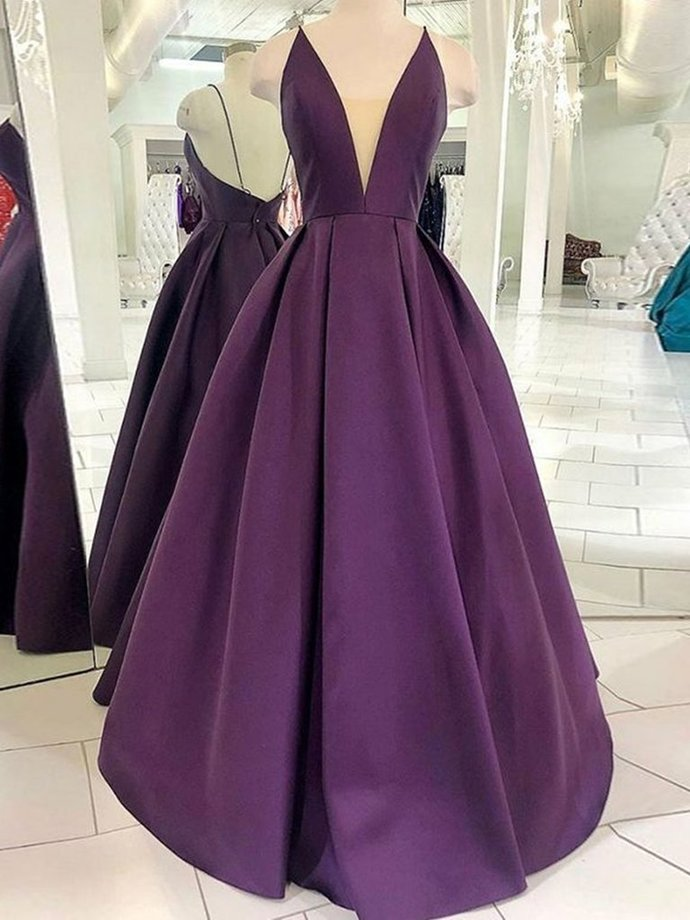 Fashionable V Neck Backless Purple Satin Long Prom Dresses, Backless Purple