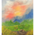 Colorful sunset and meadow landscape original small acrylic painting on canvas