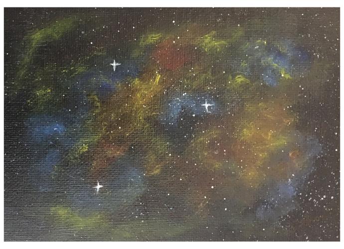 Space nebula original small acrylic painting