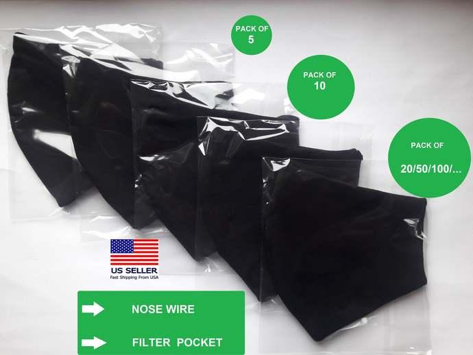 Set of 5 10 20 100 Face Mask Pack w/Pocket+Wire US Lot of Black Masks Bulk Order