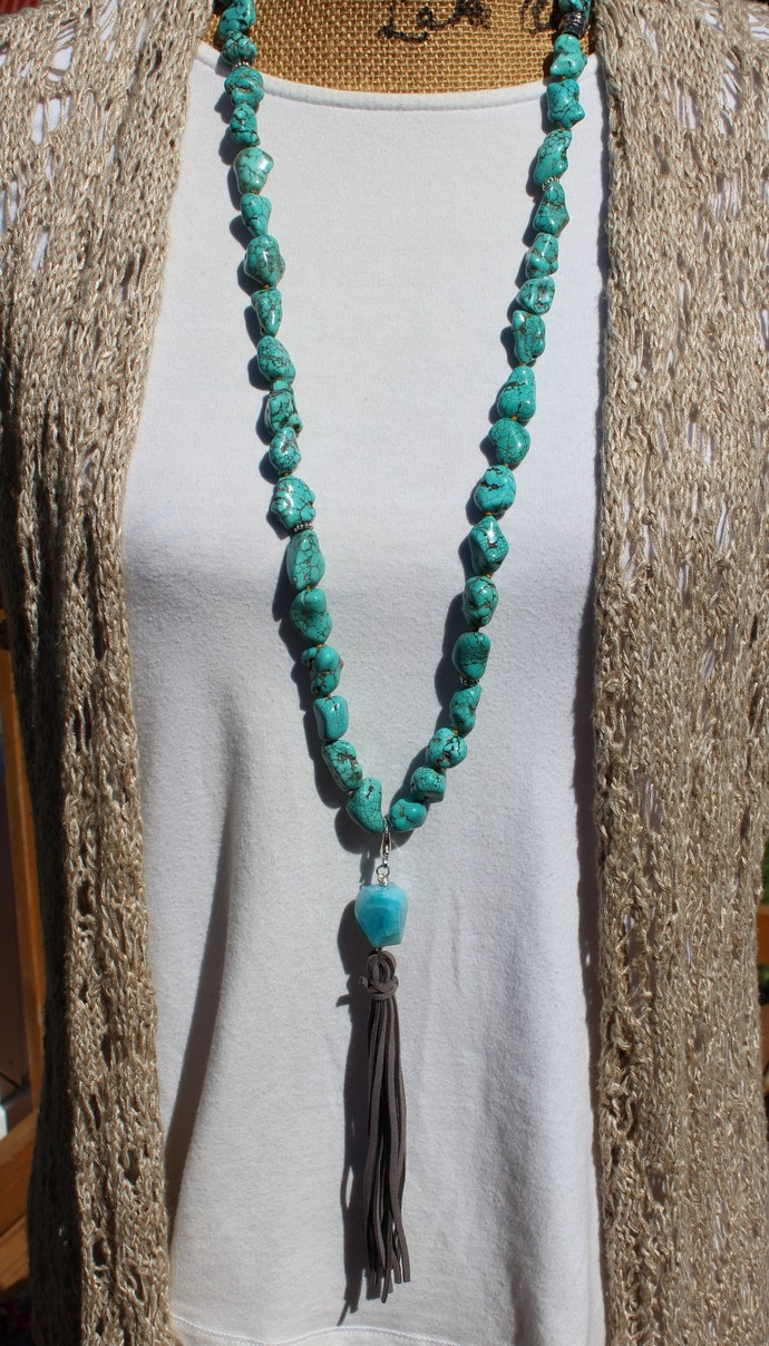 Big & Bold Turquoise Necklace, with Leather Tassel, Bohemian Glam Hand tied