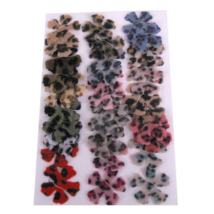 Furry Animal Print Fabric Die Cut Flowers 5 Petal
