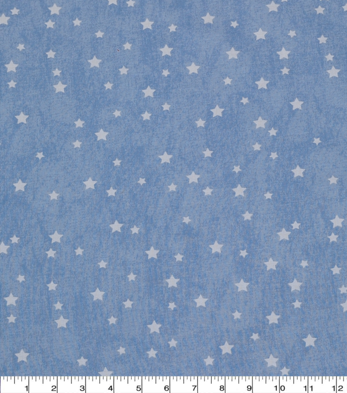White Stars on Blue Cotton Quilting Fabric
