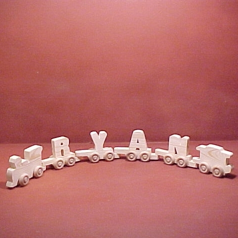 Handcrafted Wood Toy Letter Train 4 Letter Name unfinished or finished