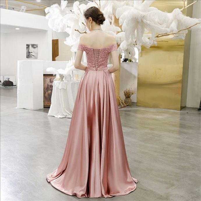Light Pink Satin A-line Off Shoulder Lace Top Party Dress, Beautiful Formal Gown