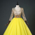 Beautiful Yellow Tulle Beaded Long Sparkle Sweet 16 Gown, Yellow Formal Dress