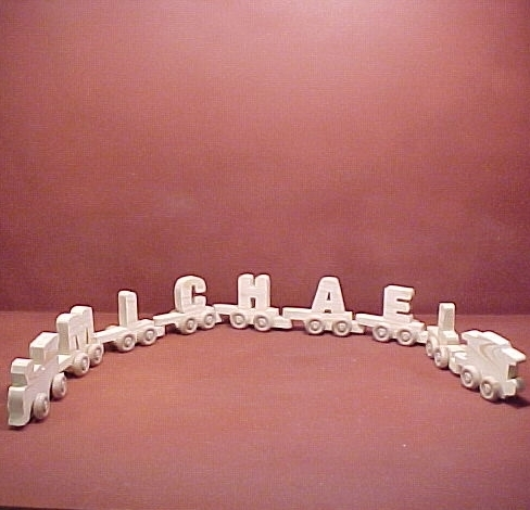 Handcrafted Wood Toy Letter Train  7 Letter Name unfinished or finished