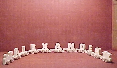 Handcrafted Wood Toy Letter Train 9 Letter Name unfinished or finished