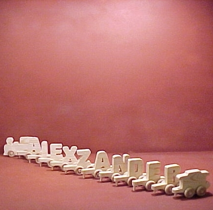 Handcrafted Wood Toy Letter Train 10 Letter Name unfinished or finished