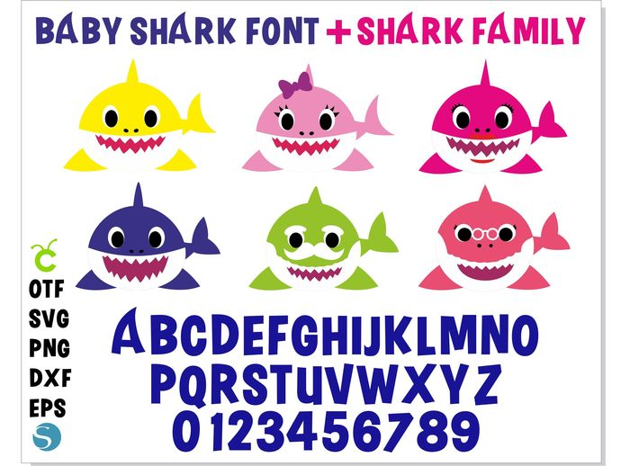 Baby Shark svg Bundle | Baby Shark font + Baby Shark Family svg | Baby Shark