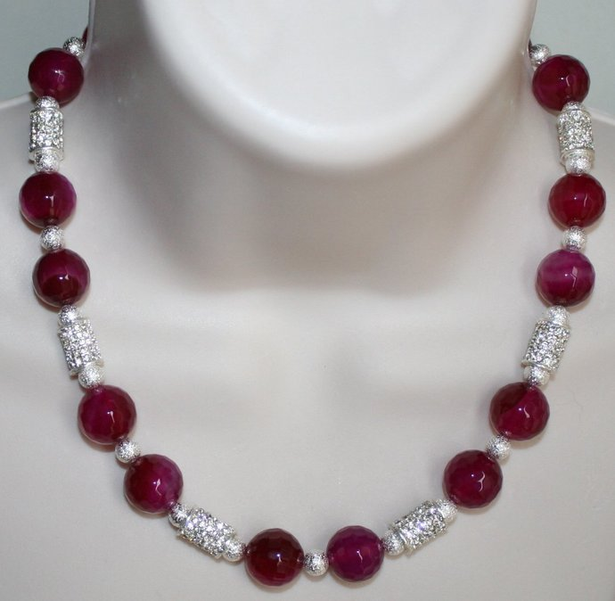 Rose Agate with Rhinestones Statement Necklace, Large Faceted Agate & Silver