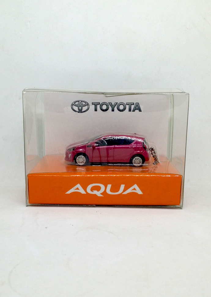 Toyota Aqua LED Light Pull Back Mini Car (Magenta) Keychain Key Ring - Dealer