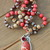 Long Beaded Necklace, with Pendant, Jasper Jewelry, in Red & Brown, Jewelry