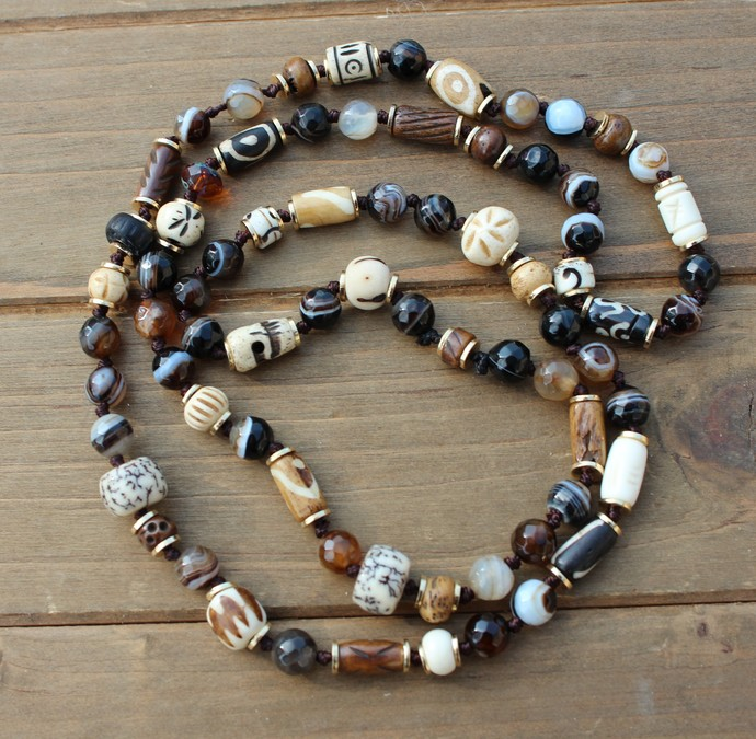Long Beaded Necklace, Brown Hand knot Jewelry, by KnottedUp, Hand Made one of a