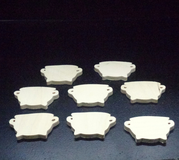 Pkg of 8  Witches  Cauldrons unfinished Wood Cutouts WCO-20-25