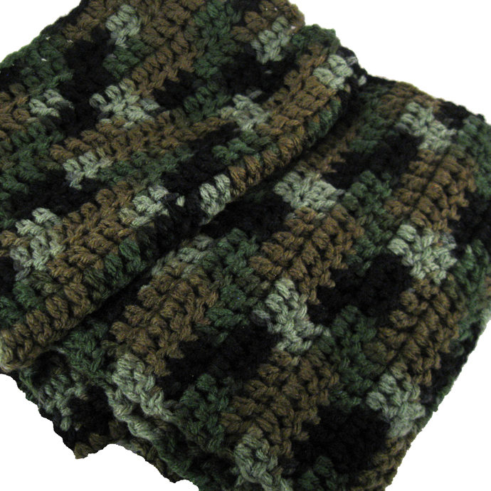 Camouflage Crocheted Scarf gift for dad