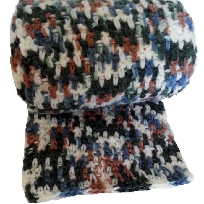 Unisex Scarf Crocheted in Variegated Blue Green Brown