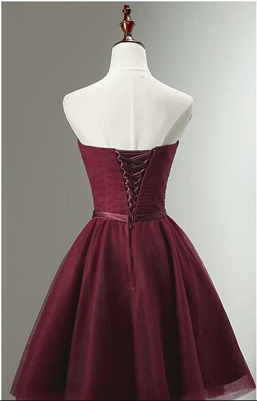 Lovely Tulle Dark Red Knee Length Homecoming Dress, Wine Red Short Party Dress