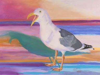 """Squawking Gull"" Canvas Giclee Print by Carol Thompson"