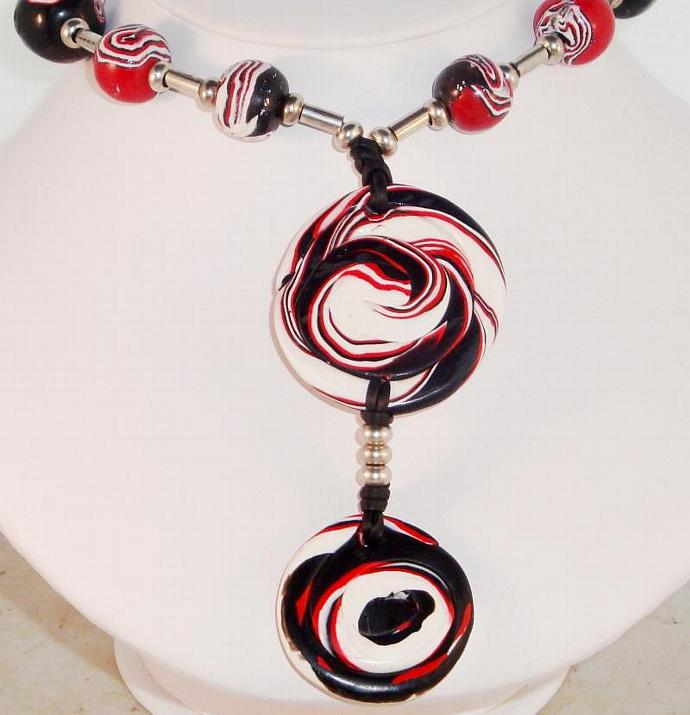 Red, White and Black Polymer Clay Bead Necklace
