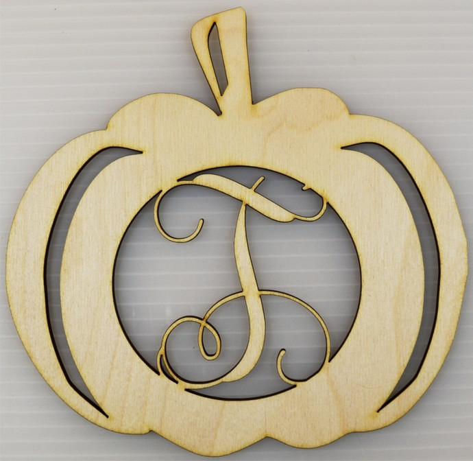 Monogrammed Pumpkin Wood Cut Out / Laser Cut Wood / Personalized Free