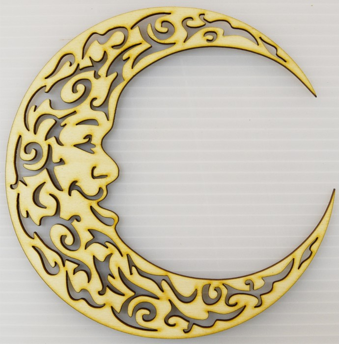 Fancy Moon Cut Out / Laser Cut Wood