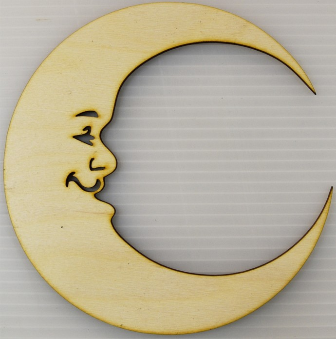 Moon Wood Cut Out / Man In The Moon / Laser Cut Wood