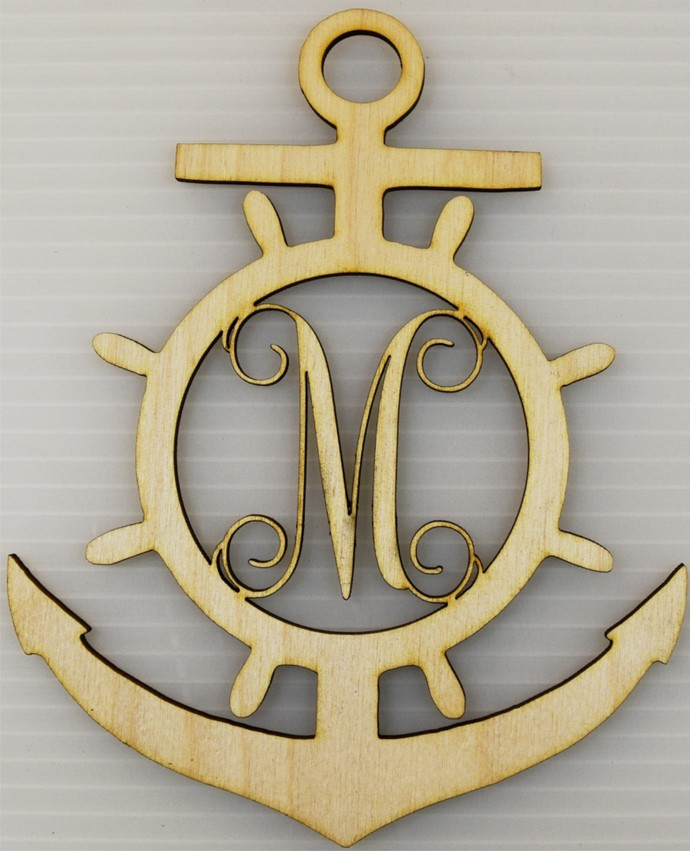 Monogrammed Anchor / Nautical Wood Cut Out / Laser Cut Wood / Personalized Free