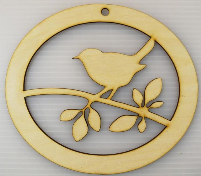 Song Bird Ornament / Laser Cut Wood