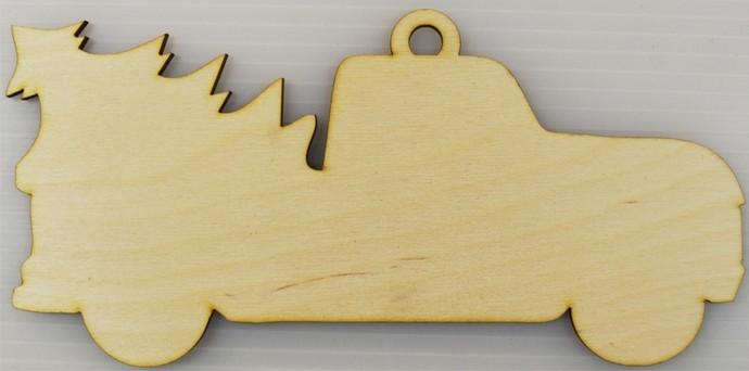 Christmas Tree Truck Ornament / Laser Cut Wood