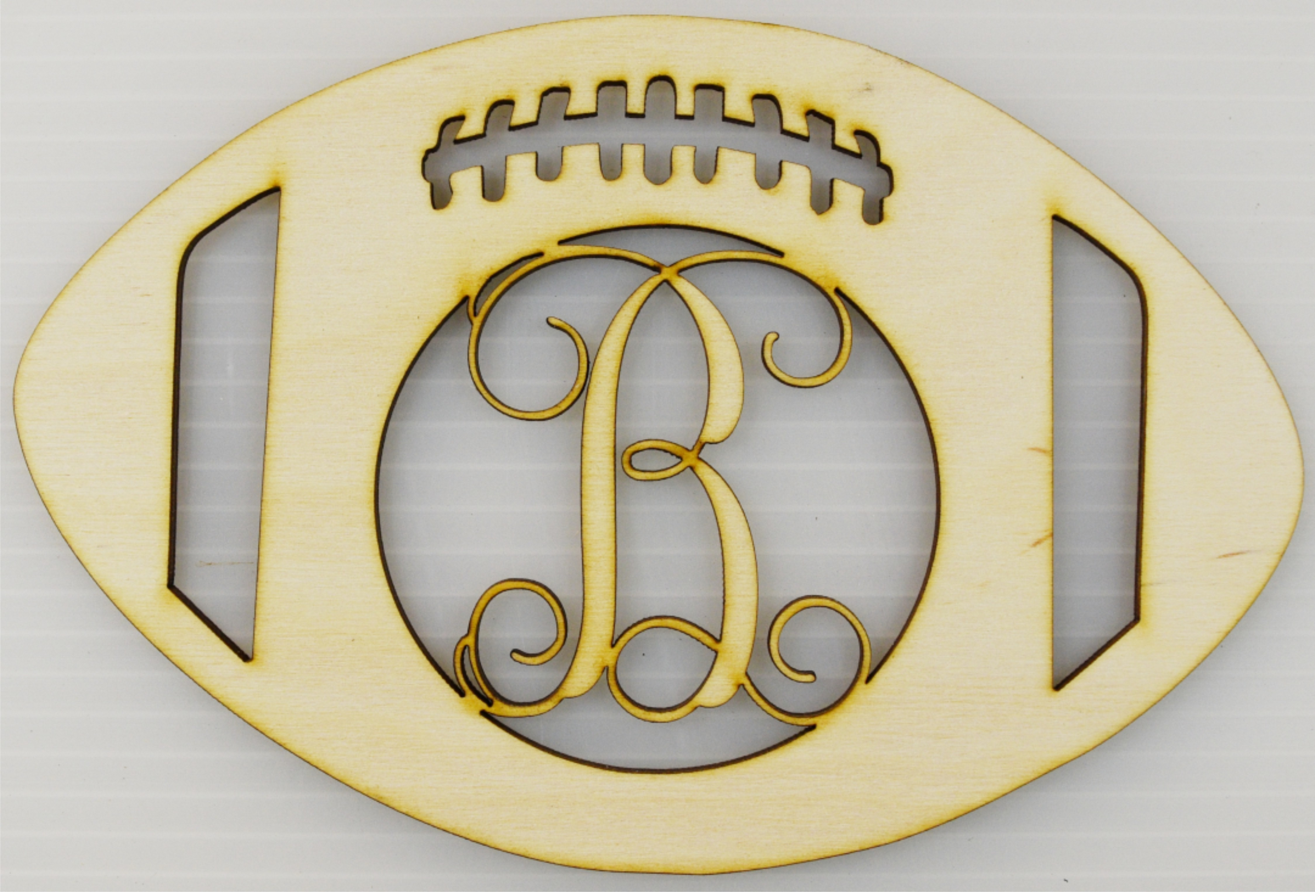 Monogrammed Football / Sports Themed Wood Cut Out / Laser Cut Wood /