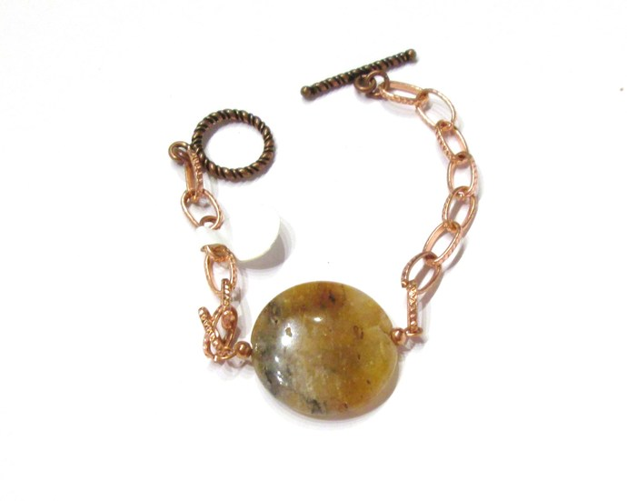 Copper bracelet with large hematoid quartz focal bead, chunky bracelet for fall,