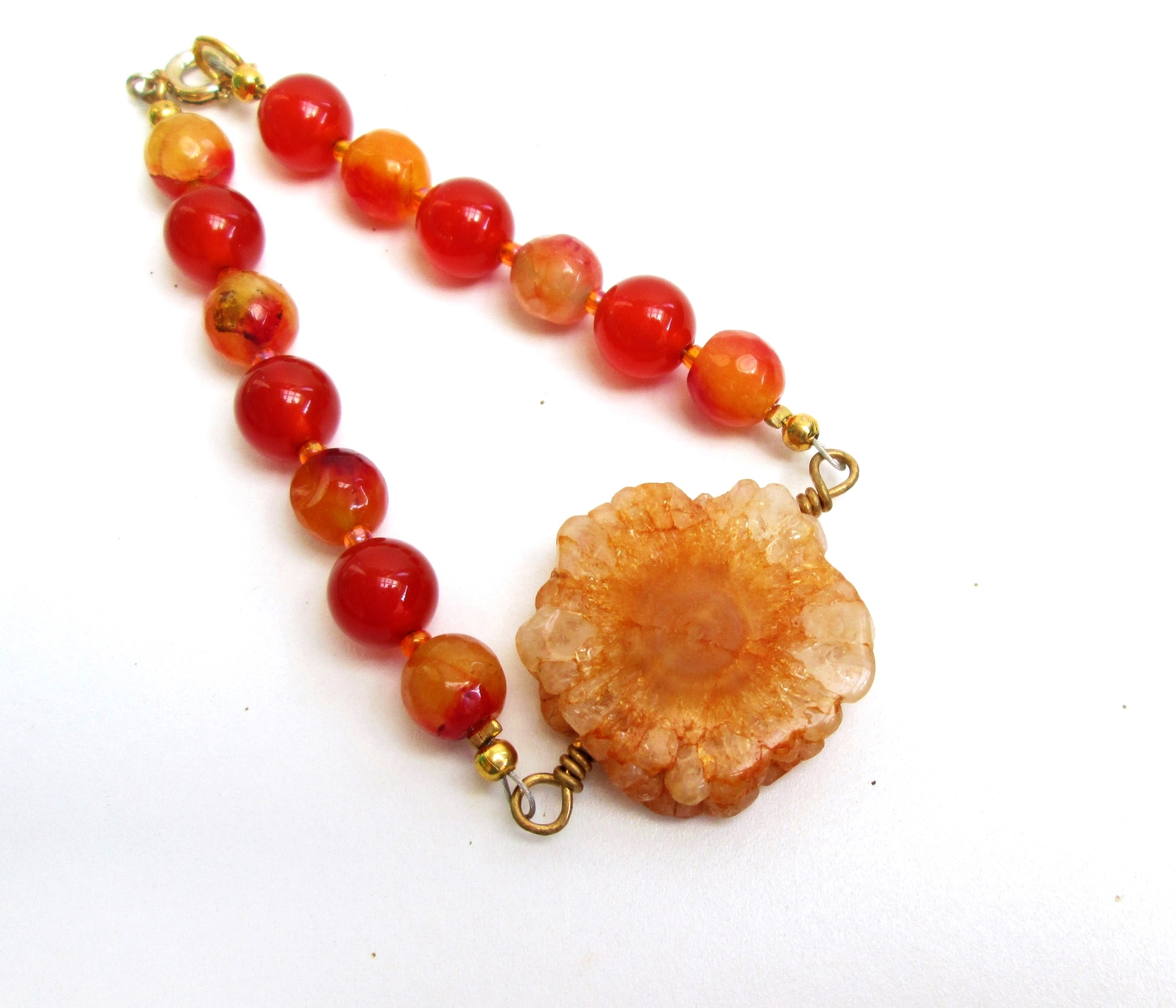 Bright and colorful sunshine bracelet, Solar quartz beaded bracelet with agate
