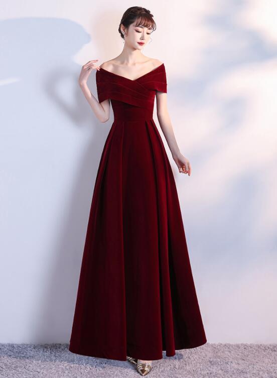 Charming Wine Red Velvet Long Party Dress, A-line Off Shoulder Prom Dress