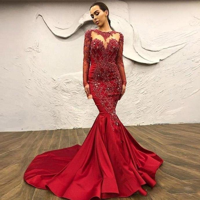 long sleeve elegant evening dresses 2020 mermaid red beaded applique modest 2021